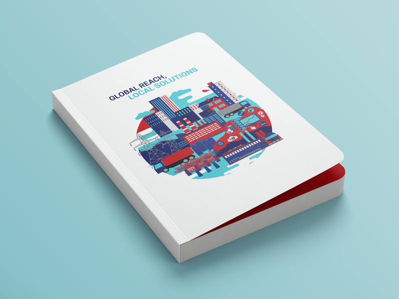 "Book Mockup -""Global Reach Local Solutions"" illustration bookdesign bookcoverdesign bookcover"