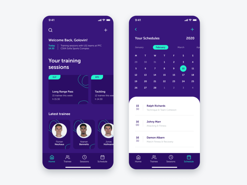 Football Trainer App ux ui training trainer simple scheduling sport clean app