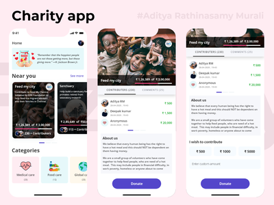 Charity app IOS dribbble behance appdesign adobe mobile ios android uiux uxui ui ux art design invite crowdfunding donation charity