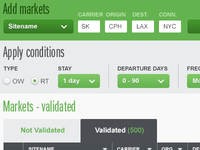 Settings and conditions view for Infare UI