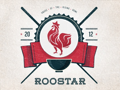 Roostar + Typography roostar rooster star flame fire food hot berlin bowl asian illustration