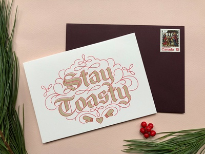 Stay Toasty Cards winter christmas festive photography red gold risograph lettering warm wishes card holiday greeting
