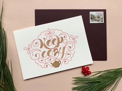 Keep Cozy Card winter christmas festive photography red gold risograph lettering warm wishes card holiday greeting