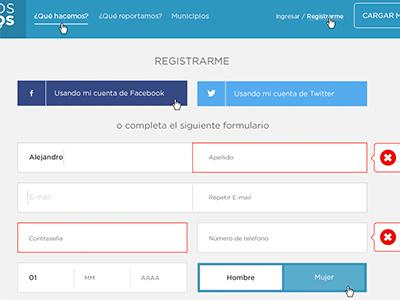 Pantalla de registro  barrios activos register form error animation user reprote sign up kit urbano ux ui