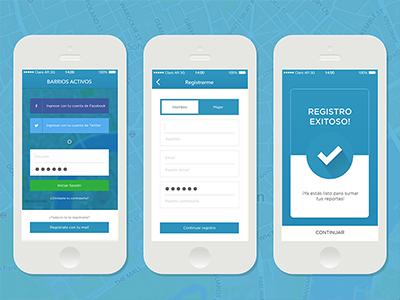 App Barrios Activos  iphone app barrios activos register form ios user reporte sign up kit urbano ux ui