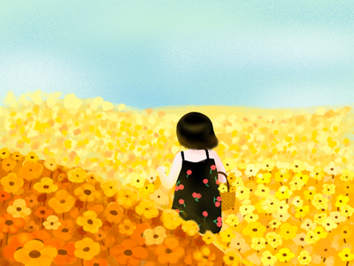 flowers and the girl