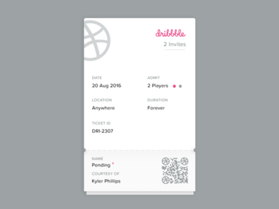 Dribbble Invites Giveaway qr code ticket 2 giveaway dribbble invite