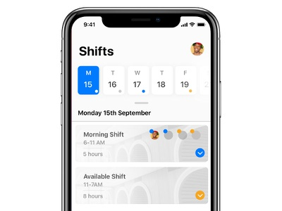Shifts - Calendar - iOS 11 ios design ios shift shifts calendar ios 11