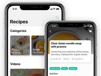 iOS 11 - Recipes Exploration iphone app iphone x ios recipes ios 11