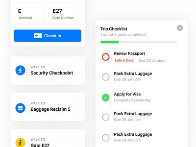 Flight Components flight tracker airplane airport check-in cards checklist flight