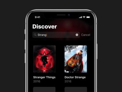 Discover - Television Tracking App app design search ios tv app tv show ios 11 discover search ios
