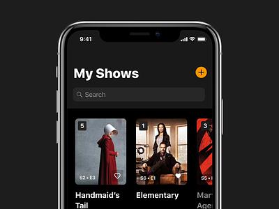 My Shows - Television Tracker ios dark mode iphonex iphone tv show search ios ios 11 tv search ios design app