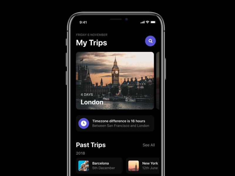 Trips Screen - iOS explore search guides locations interface app design dark app dark ios dark mode iphonex places trips travel ios 12 app ios template