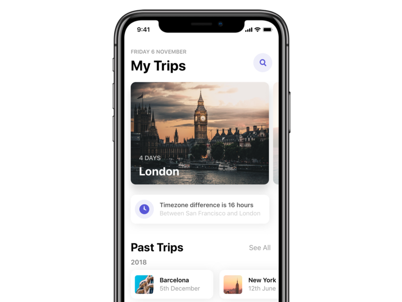 Trips Screen Light - iOS schedule app design card ios card search ios explore places iphonex trips travel ios 12 design app ios