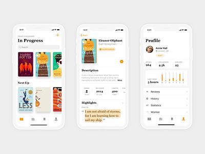 Book Tracking App - WIP goodreads book review books app book app bookstore bookshelf books iphonex app design design app ios 11 ios