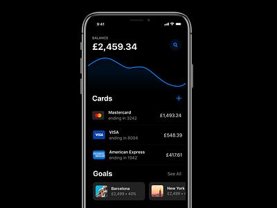 Banking App Dark - iOS app ios 13 money finance ios app apple ios banking app banking bank