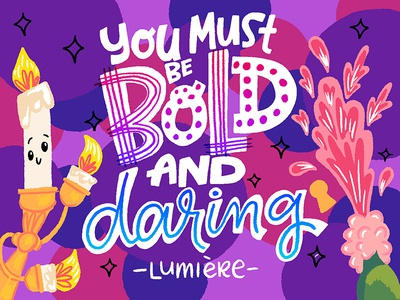 Yalabot Entry: Be Daring beauty and the beast disney surface wacom adobe design letters illo illustration lettering hand lettering