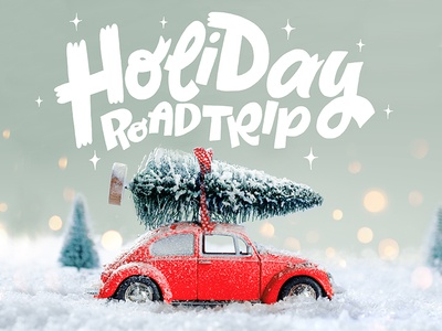 Holiday Roadtrip playlist spotify holiday graphic design illustration freelance letters lettering hand lettering