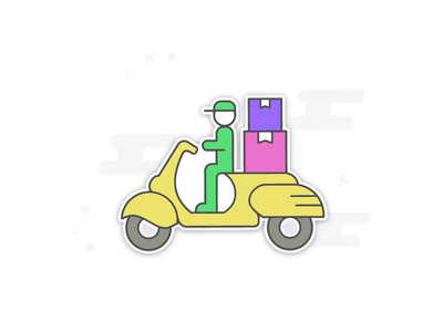 Sticker Style Graphics - Delivery Boy