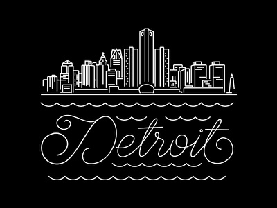 Detroit detroit line illustration skyline city
