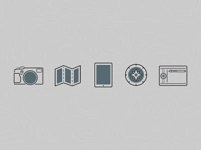 Website relaunch glyphs tablet wacom camera travel explore icons illustrator glyphs