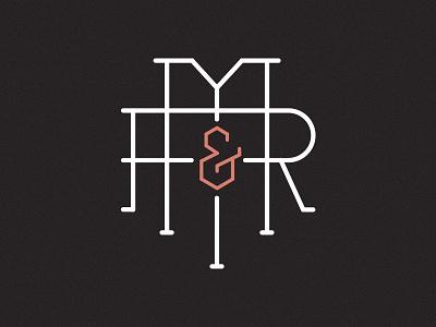 M&R lettering r m monogram