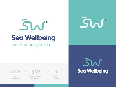 Branding Sea Wellbeing logo branding and identity branding agency logotype branding concept