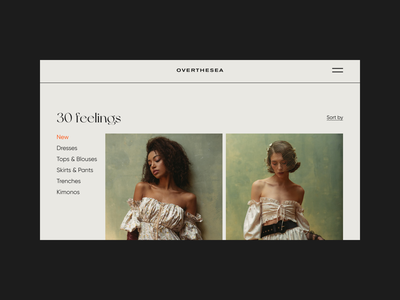 Overthesea shop website web trends style fashion clothes ux ui interaction design typography interface dresses ecommerce