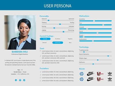 Corporate, Clean & Minimal User Persona cover psd ai blue web minimal flat user persona examples user persona