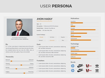 Creative, Clean & Minimal User Persona ideas online photo cover psd minimal flat user persona examples user persona
