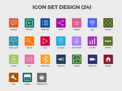 ICON SET DESIGN (24) flat icon icon ideas character design web design creative online photo cover eps ai minimal