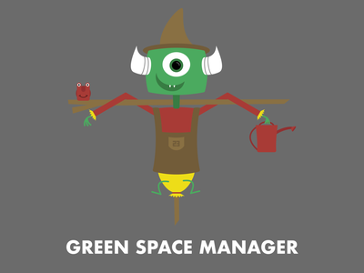 Green Space Manager character design illustration