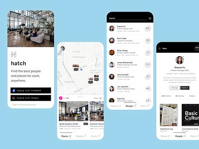 Hatch Coworking App Concept spaces social coworking mobile ui