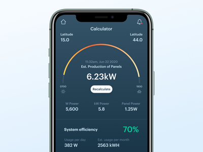Solar Panel Calculator Concept energy dashboard tracking smarthome smart home green energy green calculator app calculator app clean energy sustainable cities sustainability clean ui daily ui dailyui analytics ui mobile app