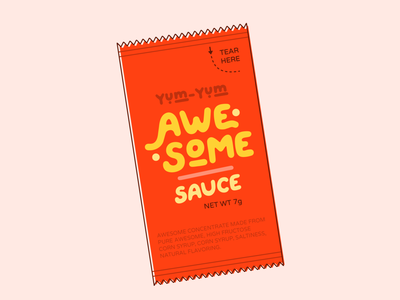 Awesome Sauce Packet fun sauce food design typography illustrator graphic-design graphic design
