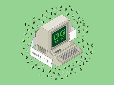 Apple IIe tattoo computer isometric illustration isometric art isometric design isometry isometric appple illustration design illustrator graphic-design graphic design