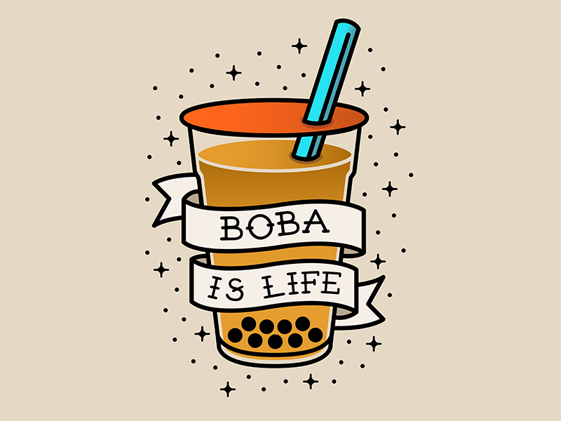 """""""Boba is Life"""" Traditional Tattoo Style foodie parks font illustrator shading graphic design traditional tattoo tattoo bubble tea boba"""