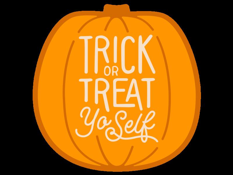 Trick or Treat Yo'Self Pumpkin Sticker sticker halloween treat yourself treat yoself treat yo self pumpkin illustration typography graphic-design graphic design