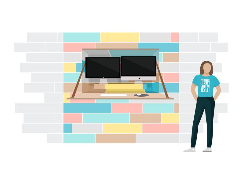 Tiny House Stand-Up Desk Illustration desk workspace graphic-design design vector illustrator illustration graphic design