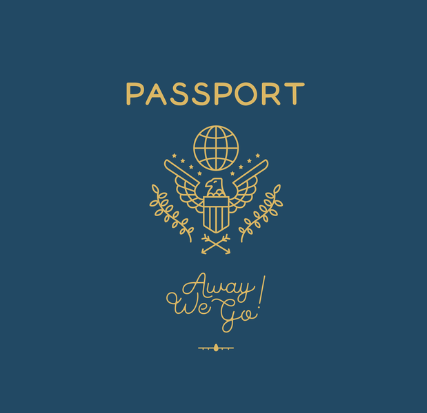 Passport Monoline Design parks font typography graphic-design design illustrator graphic design blue and gold monoline travel passport