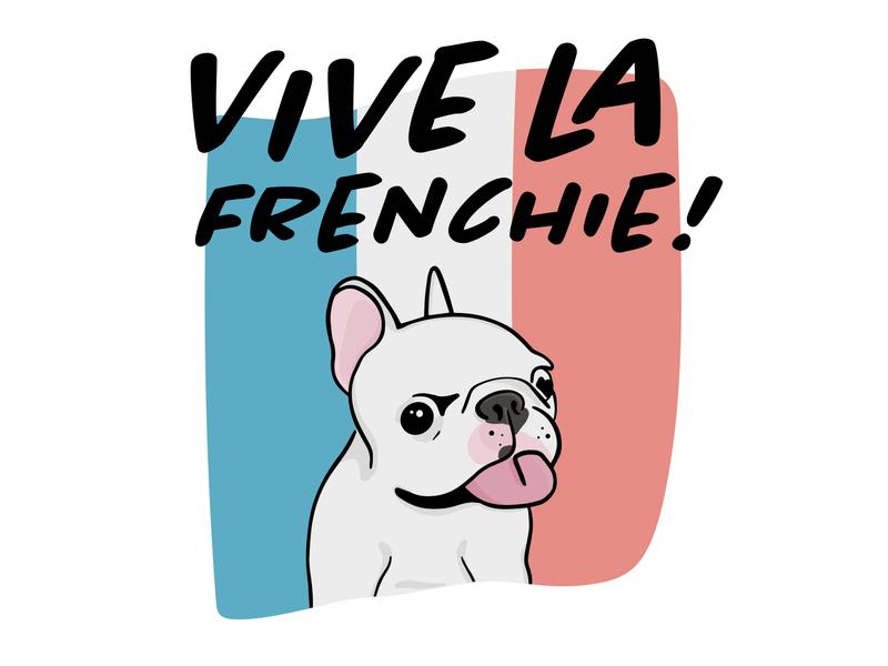 Vive la Frenchie illustration design typography illustrator graphic-design graphic design french puppy doggo dog french bulldog frenchie