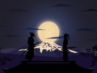 Samurais japan sword katana tree trees stars night fight war moon clouds samurai illustration procreate