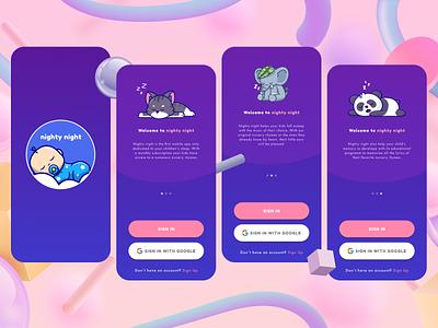 Nighty Night - Splash Screens design ui ux mobile app
