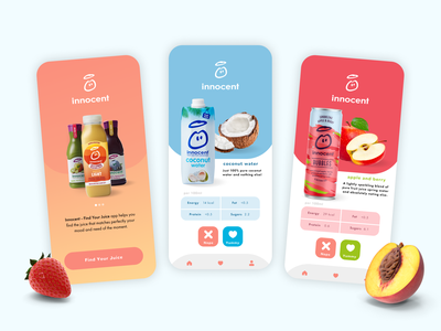 Find Your Juice - Innocent App innocent fruits juice design mobile app ui design ui