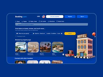 Booking - Website redesign 3d website hotel booking design uiux ui
