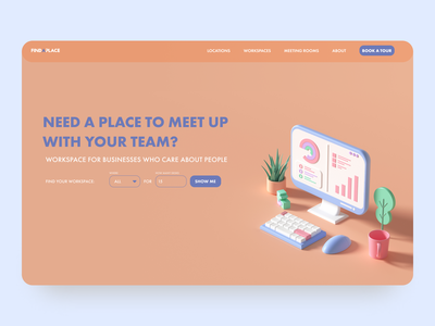 Looking for a workplace? - homepage web branding ui design