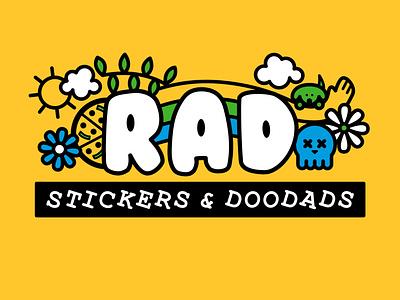 RAD Stickers + Doodads rebrand pizza doodle lines skull dog rad blue green illustration yellow logo