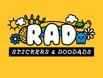 RAD Stickers + Doodads rebrand pizza doodle lines skull dog rad blue green illustration yellow logo