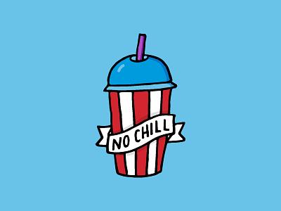 No Chill sticker doodle straw red frozen slurpee icee blue illustration