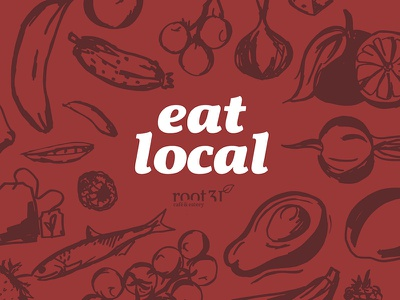 Eat Local - Root31 Cafe berry banana fish tea orange avocado organic illustration red illustrations food eat local